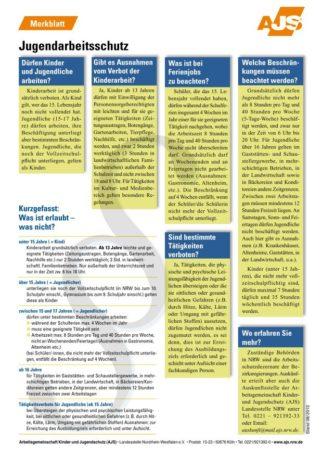 Cover Merkblatt Jugendarbeitsschutz